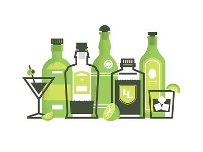 Gin & Juice color portland bar martini texture fruit bottle design alcohol cocktail gin illustration