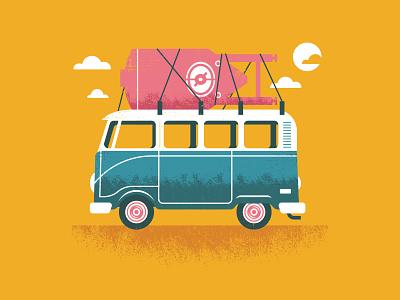 Precious Cargo beach surf vintage van vector brewery clouds california vw bus vw beer illustration