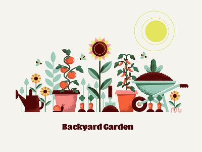 Backyard Garden tomato plants backyard farm outdoors nature texture flower vegetables garden design illustration