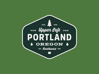 Portland Badge brand tree oregon type vintage patch badge logo northwest portland design illustration