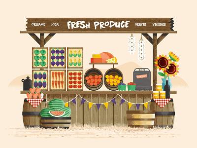 Fresh Produce corn farm stand tomato apple flower food produce fruit vegetable farm texture illustration