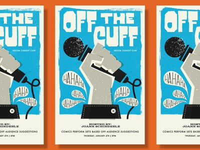 Off The Cuff Poster illustration design poster gig comedy comic microphone texture hand typography stand up comedy show
