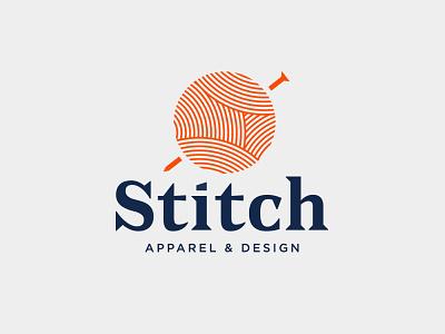 Stitch sew identity fabric cotton needle yarn clothing design apparel illustration logo branding