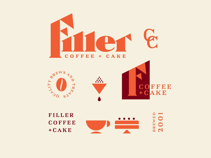 Filler Coffee + Cake Identity brand and identity cake brew word mark vintage typography type logo lettering design coffee identity brand blackletter