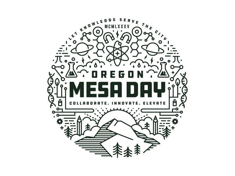 MESA Day science illustration explore adventure northwest clouds sun tree oregon label landscape science mountian line work portland branding logo design illustration