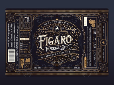 Figaro Label typography type packaging logo grid branding badge oregon portland gold fig fruit vintage label can brewery beer
