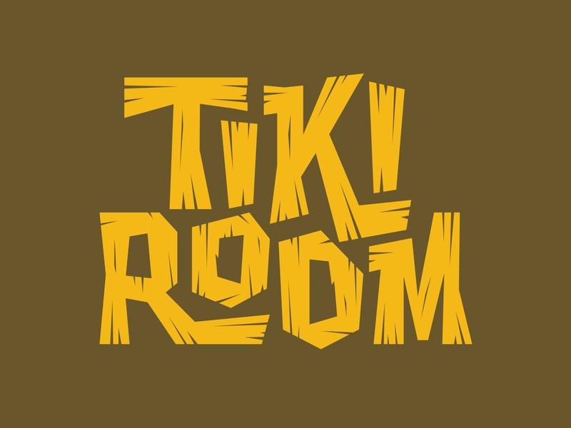 Tiki Room letters wood wordmark script retro vintage paradise beach identity logo branding typography font tiki hawaii type lettering