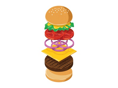 Burger bbq grill tomato icon menu isometric geometric shading vegetable bread design logo restaurant food texture illustration cheeseburger burger cheese hamburger