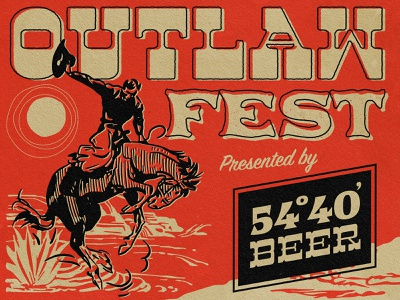 Outlaw Fest poster design wild west horse rodeo branding logo lettering type retro texture gig poster beer brewery cowboy west illustration design poster