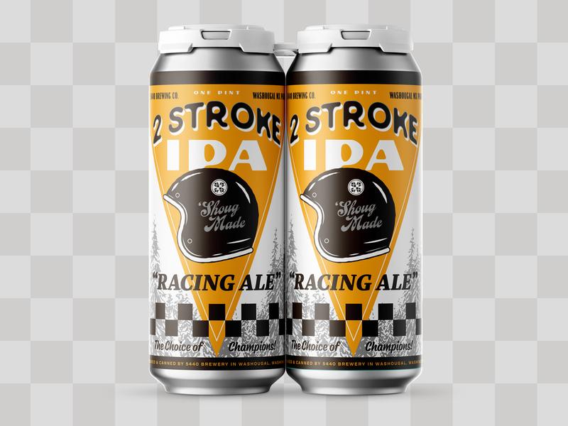 2 Stroke IPA motorcycle helmet typography type forest trees retro vintage race dirtbike motorcross brewery design packaging beer can beer label beer