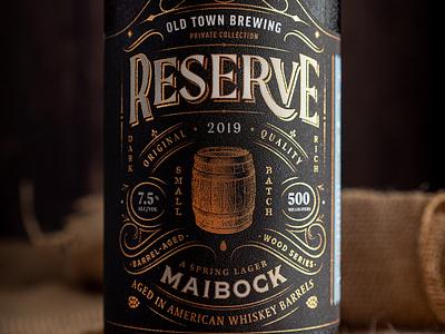 Reserve Collection luxury label barrel whiskey typography type portland packaging design packaging lettering illustration design crest brewery beer label beer badge