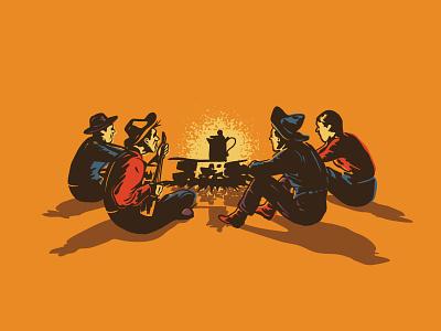 Boys Night vintage illustration coffee retro wild west western west cowboy guitar campfire fire vintage design illustraion