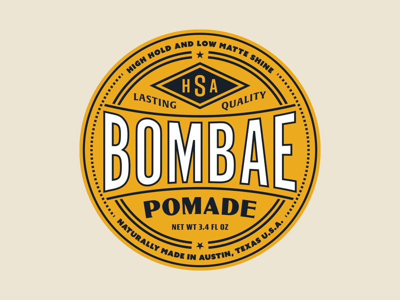 Bombae Pomade circle logo wordmark lettering texas vector badge identity vintage typography branding type logo illustration design