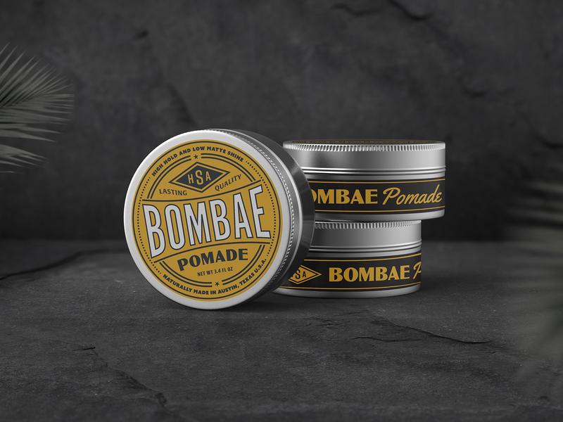 Bombae Pomade logotype retro typography lettering wordmark logo vintage badge vintage packaging design packaging pomade circle logo badge type design
