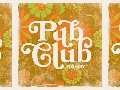 Pub Club mark beer brewery pattern flower retro vintage lettering typogaphy type logotype logo design logo
