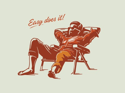Easy Does It! lounge personal art vintage beach chair logo illustration design illustrator