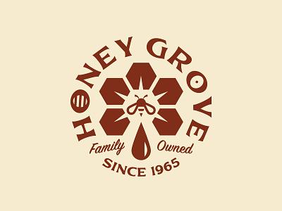 Honey Grove illustration lettering art honey bee lettering type circle logotype brand honey geometry flower bee badge logo