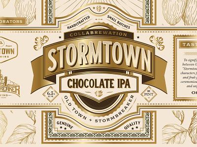 Stormtown logo design beer branding lettering chocolate premium detail type brewery beer label orante badge packaging beer