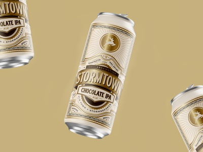 Stormtown vintage premium chocolate branding beer label logo design badge lettering type ornament packaging beer can beer