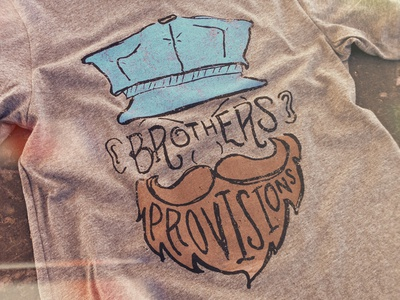 Brothers Provisions texture brothers provisions print silkscreen viva merch beard t-shirt handmade drawing