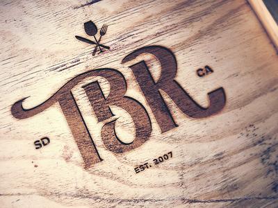 TBR Menu Logo san diego the barrel room logo wood mark brand branding