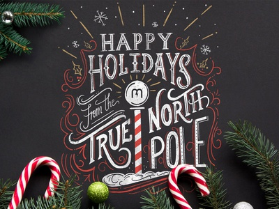 Magnetic Christmas Card procreate ipad pro true north christmas card magnetic hand-lettering