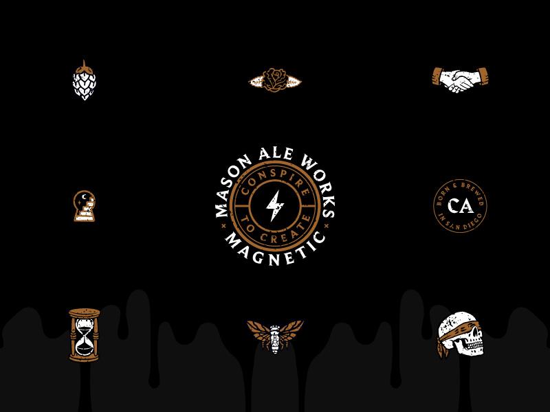 Collaboration Icons black rye ipa hourglass moth rose skull illustration branding mason craft beer san diego icons beer