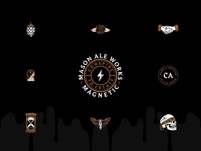Collaboration Icons black rye ipa hourglass moth rose skull illustration branding mason craft beer san diego icons beer