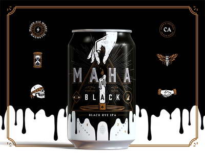 MAHA Black black rye ipa hourglass moth rose skull illustration branding mason craft beer san diego icons beer
