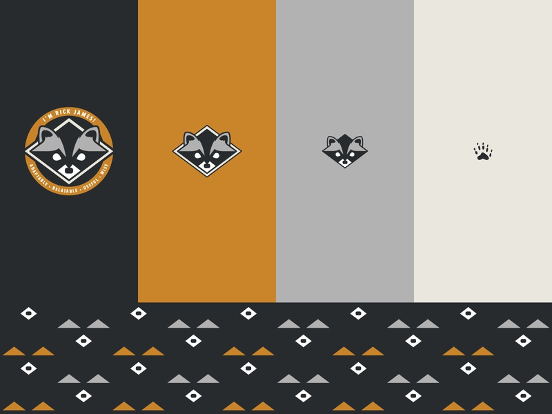 I'm Rick James! cougs pattern racoon responsive logo illustration design branding logo