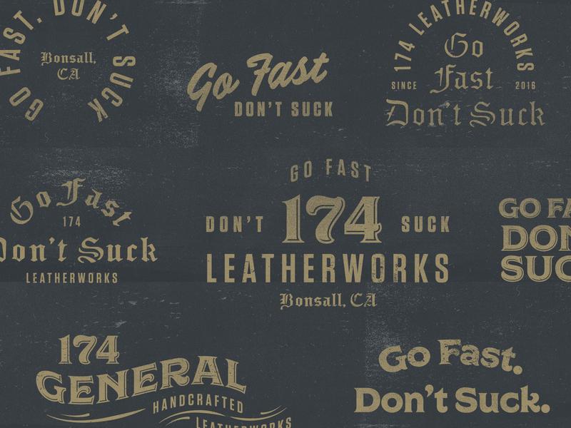 174 Leatherworks dreamhost leatherworks lockups texture typography branding