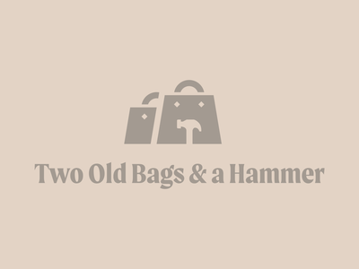 Two Old Bags & a Hammer minimal identity logo tool hammer bags bag old bag