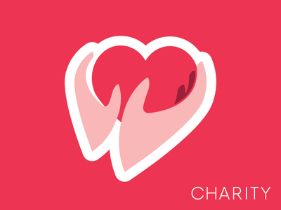 Charity Sticker simple minimal caring heart gift generous generosity giving charity sticker stickermule