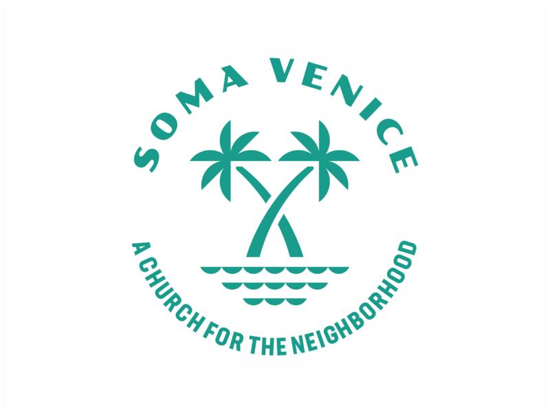 Soma Venice Badge minimal circle water waves trees tree palm tree palm neighborhood venice soma church badge