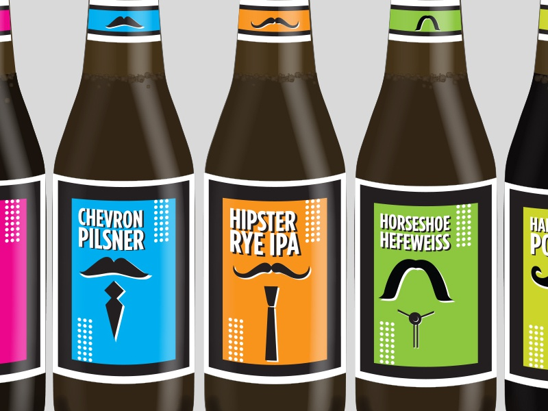 Home-brew Labels labeling beer home-brew illustration mustache