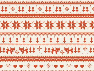 Sweater Inspired Fox Pattern pixelart fox sweater holiday illustration pattern
