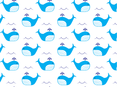 Whale Pattern ocean life kids textile surface pattern whale