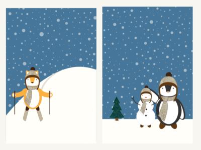 Winter Scenes 01 holiday snowman penguin fox animals snow winter