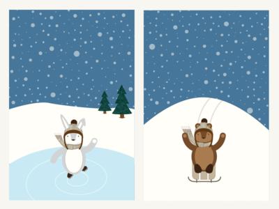 Winter Scenes 02 sledding skating bunny rabbit bear illustration animals winter
