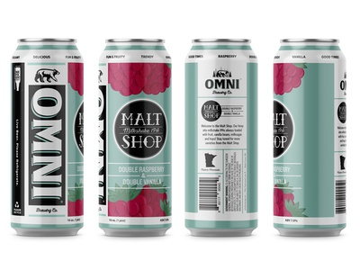 OMNI Malt Shop Double Raspberry branding hand-lettering illustration agency lettering product package brewery beer illustration