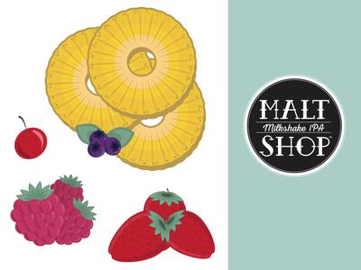 Malt Shop - Illustration Work typography hand-lettering brewing beer fruit illustration