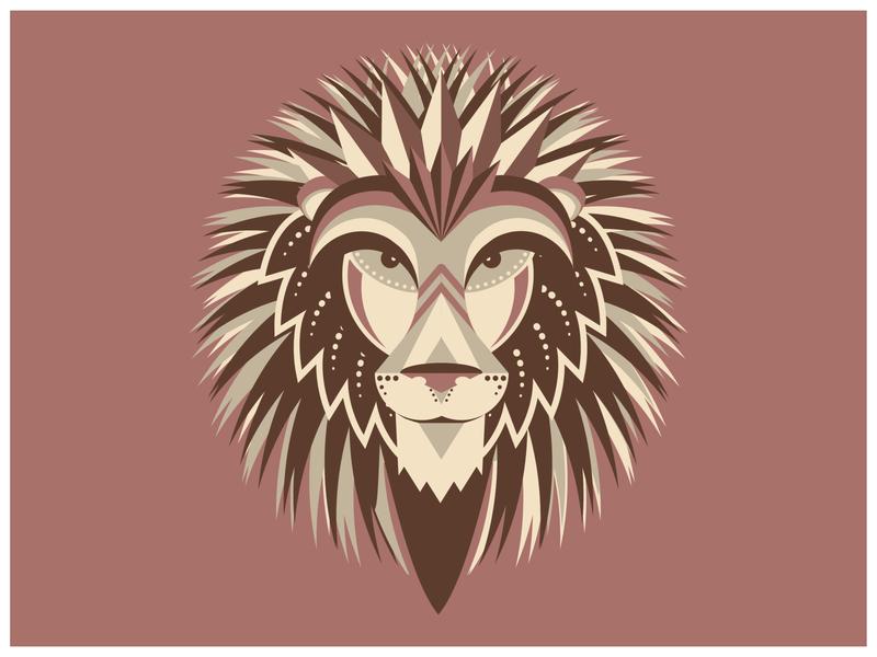 Geometric Lion print silkscreen vector lion illustration