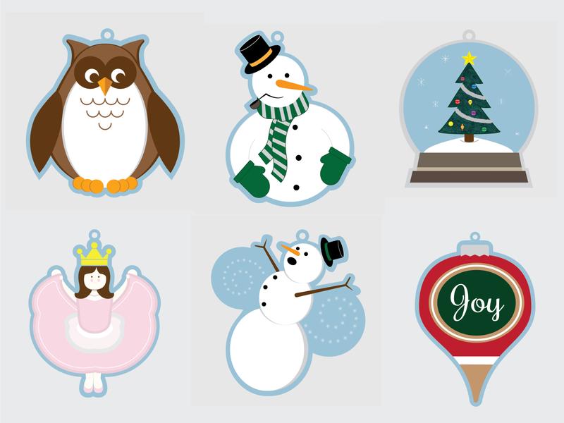 Felt Ornament Illustrations vector christmas holiday design illustration