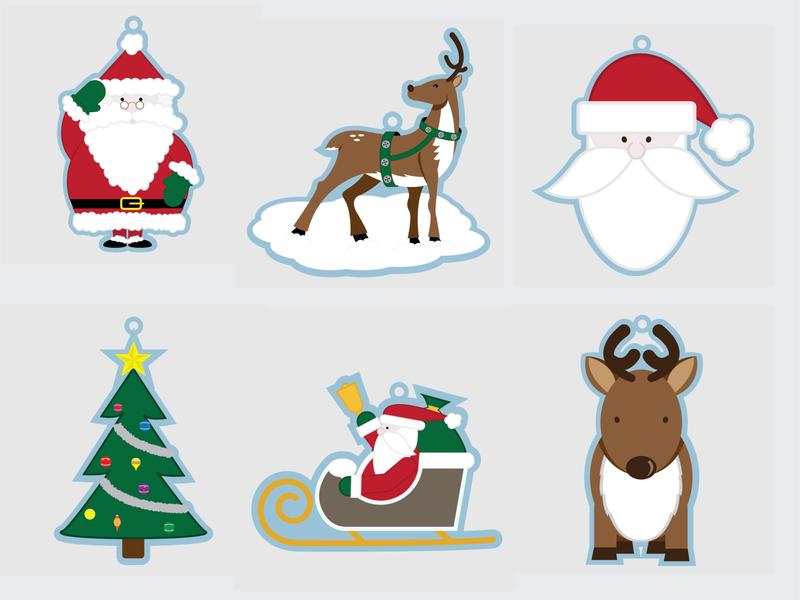 Felt Ornament Illustrations christmas vector holiday design illustration