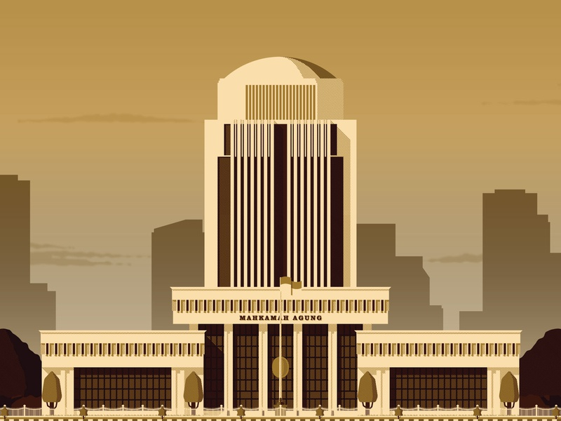Government Office: Supreme Court of Republic of Indonesia statue emblem crest indonesia cityscape sky cloud vegetation flag court vector vector729 office government architechture building flat illustration