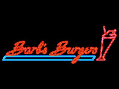 Barb's Burgers retro shake burger neon branding logo typography illustration vector calligraphy