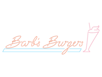 Barb's Burgers retro shake burger neon branding logo typography illustration vector calligraphy