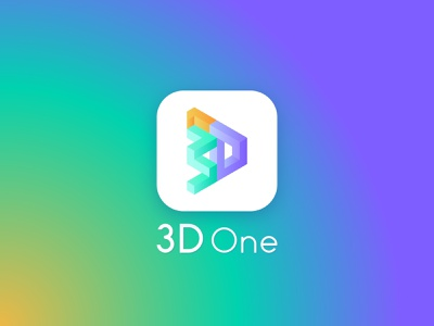 3D One illustration ppt logo