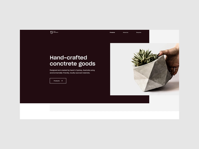 The Armory Homepage Animation concrete planter homepage layout ecommerce desktop website web minimal flat animation branding ui motion interaction
