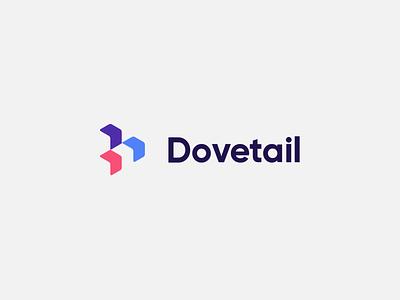 Dovetail Logo flat branding web app icon ux ui design typography cubes brand logo dovetail